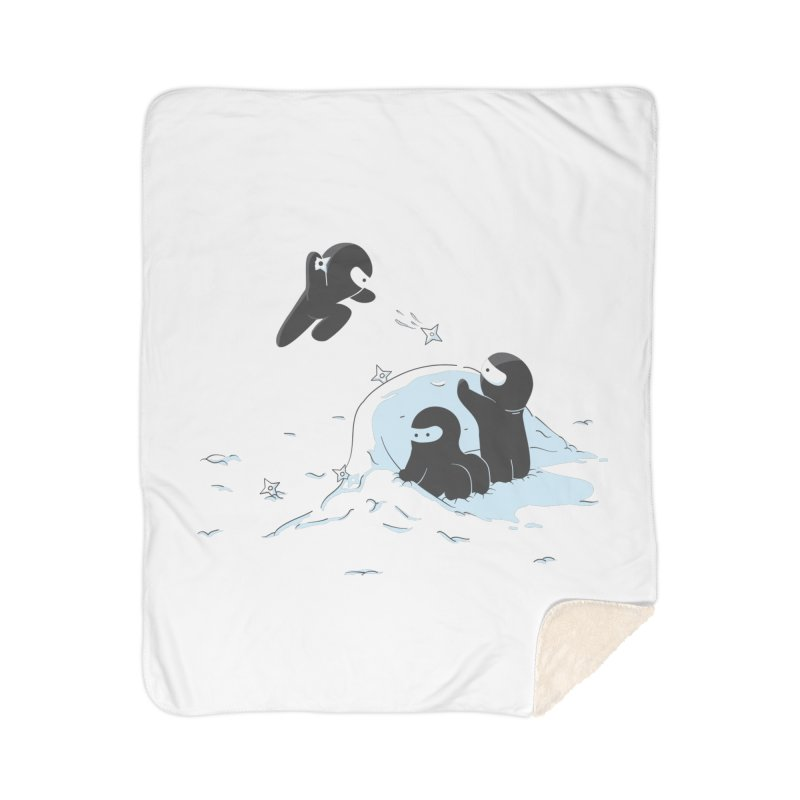 Ninjas don't camoflage well in winter Home Sherpa Blanket Blanket by agrimony // Aaron Thong