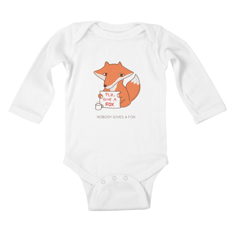 Nobody Gives A Fox Kids Baby Longsleeve Bodysuit by agrimony // Aaron Thong