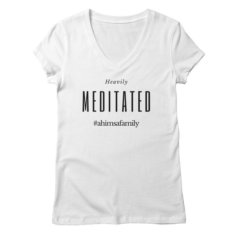 Heavily Meditated Design in Women's Regular V-Neck White by ahimsafamily's shop