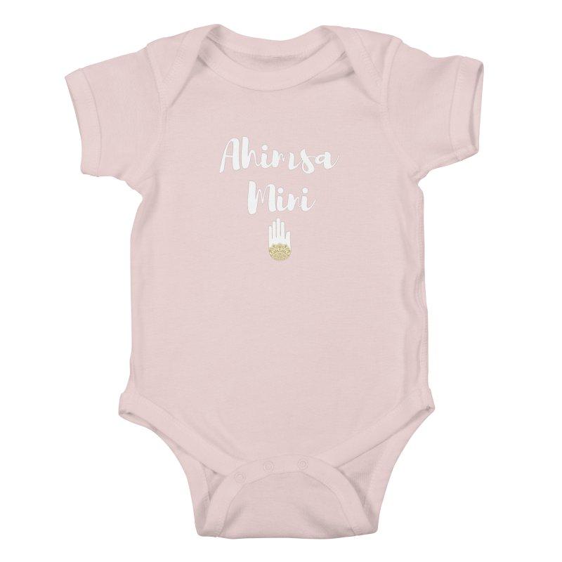 Ahimsa Mini   White Letters Design Kids Baby Bodysuit by ahimsafamily's shop