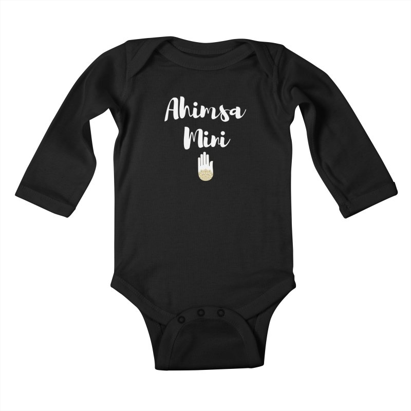 Ahimsa Mini | White Letters Design Kids Baby Longsleeve Bodysuit by ahimsafamily's shop