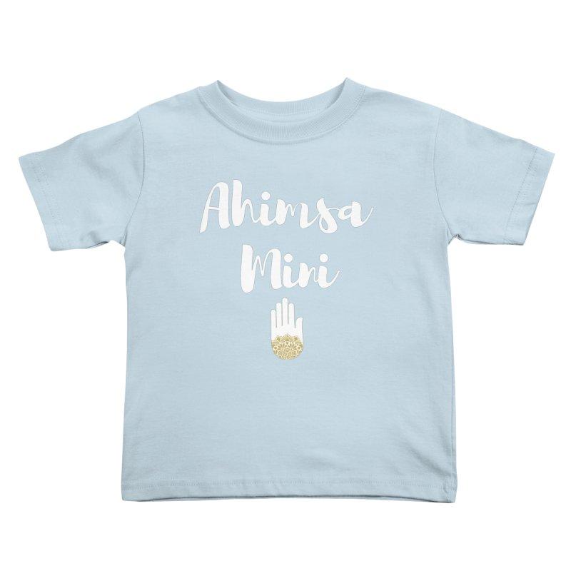 Ahimsa Mini | White Letters Design Kids Toddler T-Shirt by ahimsafamily's shop