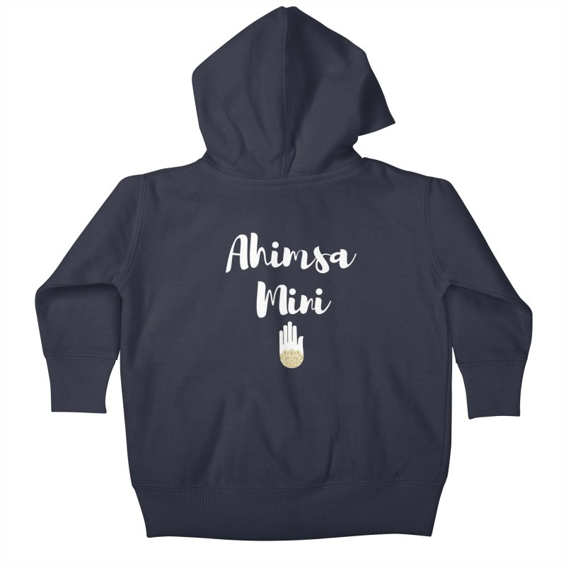 Ahimsa Mini | White Letters Design Kids Baby Zip-Up Hoody by ahimsafamily's shop