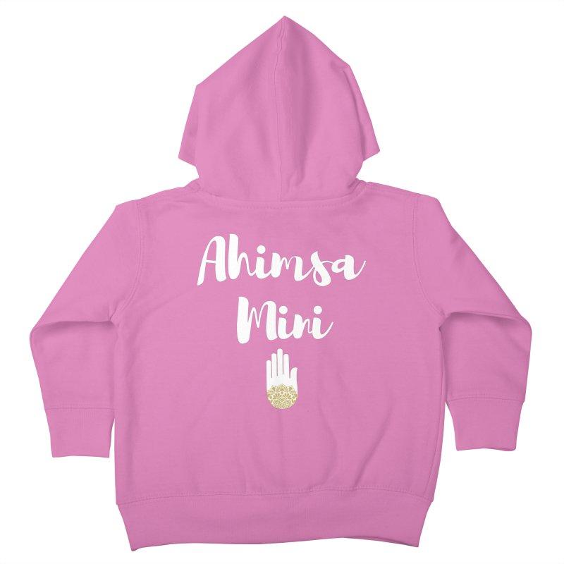 Ahimsa Mini | White Letters Design Kids Toddler Zip-Up Hoody by ahimsafamily's shop