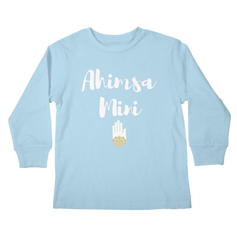 Ahimsa Mini | White Letters Design Kids Longsleeve T-Shirt by ahimsafamily's shop