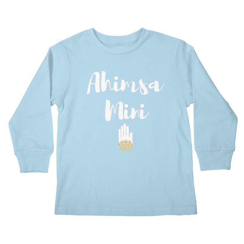 Ahimsa Mini | White Letters Design Kids Longsleeve T-Shirt by ahimsafamily's shop