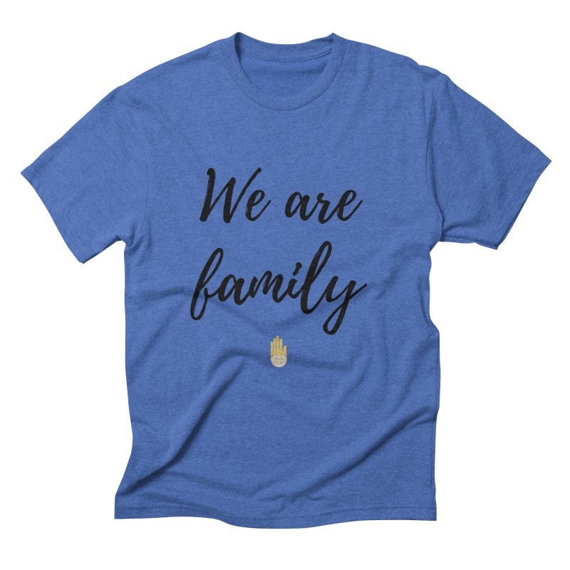 We Are Family | Black Letters Gold Hand Design Men's T-Shirt by ahimsafamily's shop