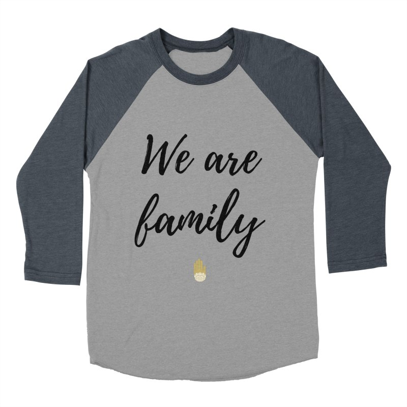 We Are Family | Black Letters Gold Hand Design in Men's Baseball Triblend Longsleeve T-Shirt Navy Sleeves by ahimsafamily's shop