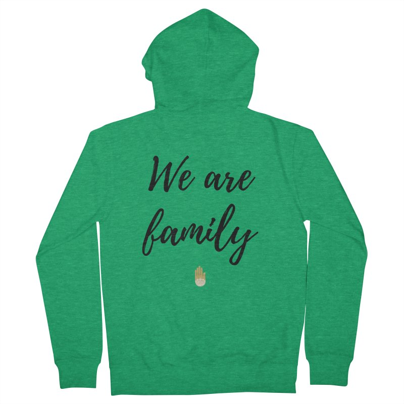 We Are Family | Black Letters Gold Hand Design Men's Zip-Up Hoody by ahimsafamily's shop