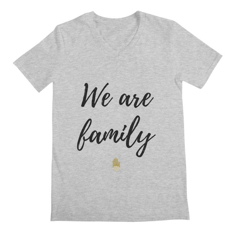 We Are Family | Black Letters Gold Hand Design Men's Regular V-Neck by ahimsafamily's shop