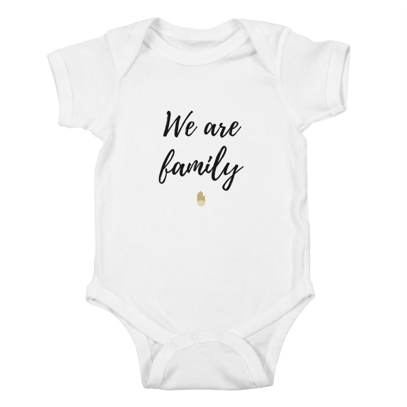 We Are Family | Black Letters Gold Hand Design Kids Baby Bodysuit by ahimsafamily's shop