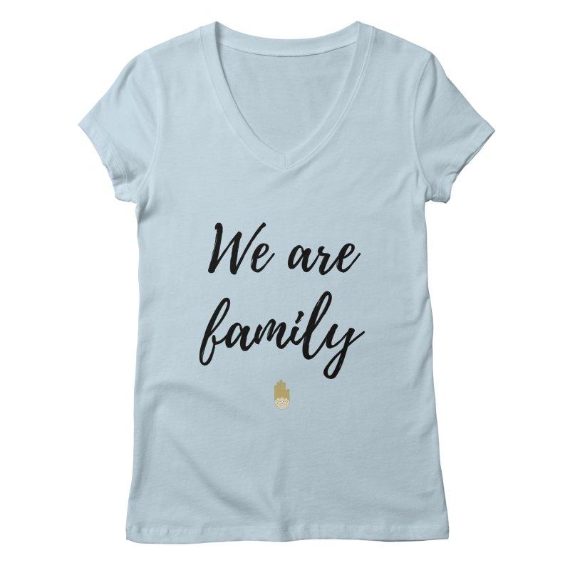 We Are Family | Black Letters Gold Hand Design Women's Regular V-Neck by ahimsafamily's shop