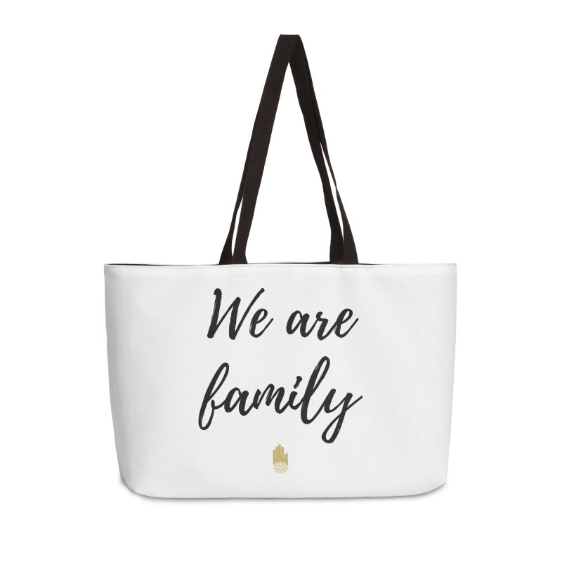 We Are Family | Black Letters Gold Hand Design Accessories Weekender Bag Bag by ahimsafamily's shop