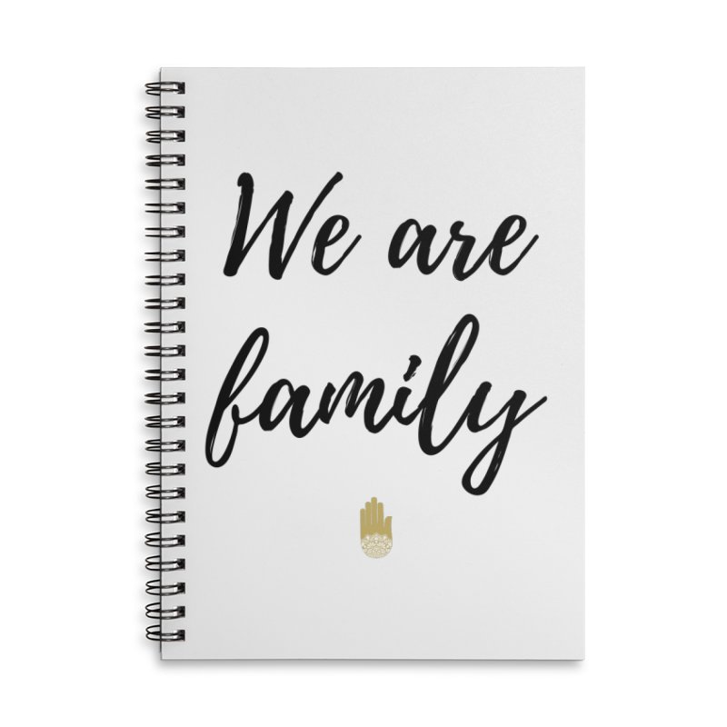 We Are Family | Black Letters Gold Hand Design Accessories Lined Spiral Notebook by ahimsafamily's shop