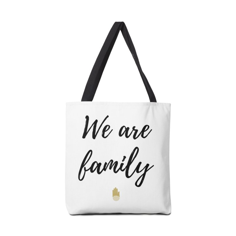 We Are Family | Black Letters Gold Hand Design Accessories Tote Bag Bag by ahimsafamily's shop