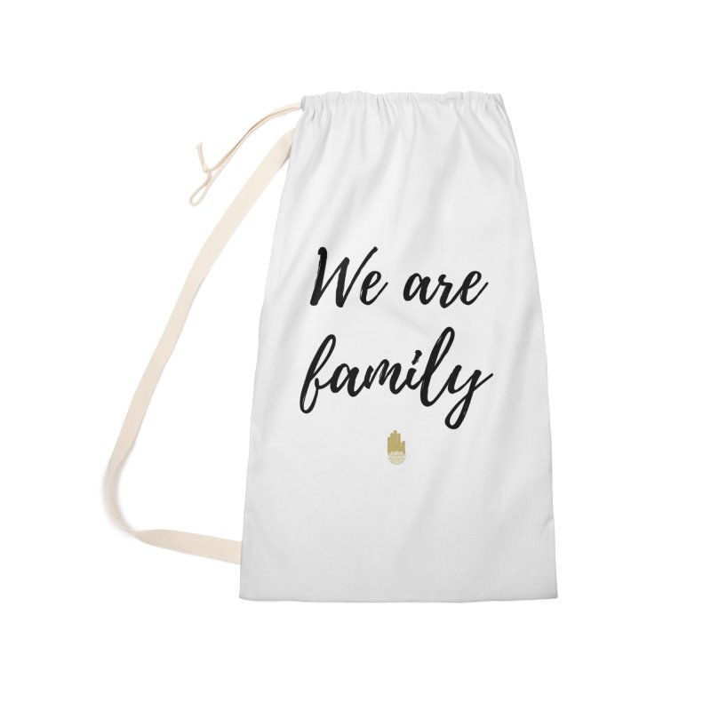 We Are Family | Black Letters Gold Hand Design Accessories Laundry Bag Bag by ahimsafamily's shop