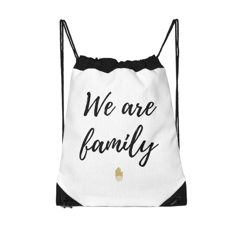 We Are Family | Black Letters Gold Hand Design Accessories Drawstring Bag Bag by ahimsafamily's shop