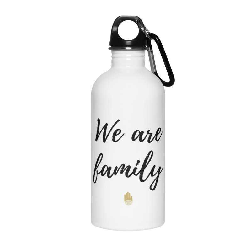 We Are Family | Black Letters Gold Hand Design Accessories Water Bottle by ahimsafamily's shop