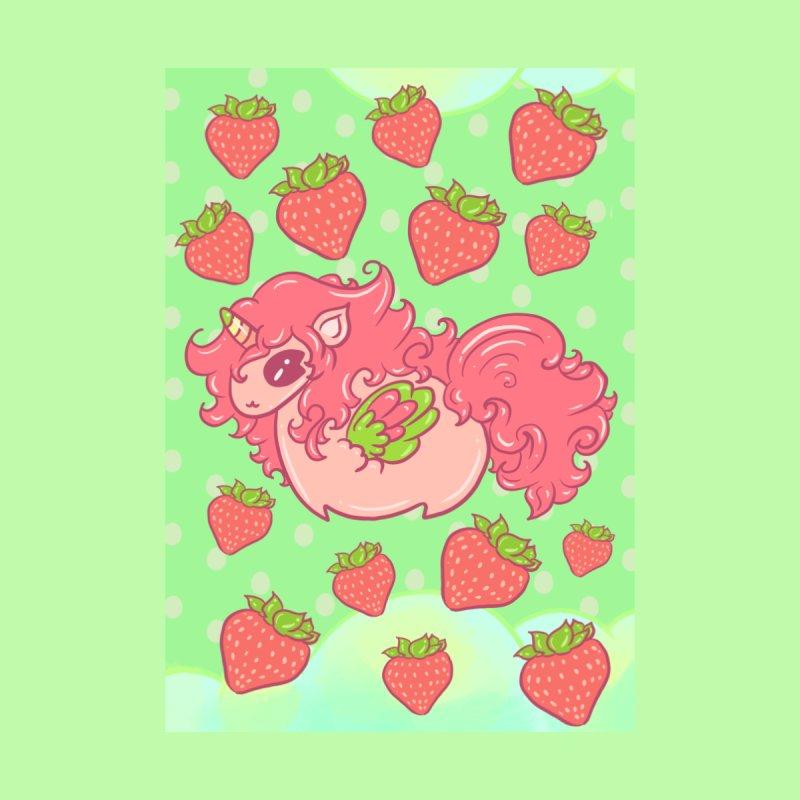 Strawberry unicorn against polka dot BG Accessories Mug by Aidadaism
