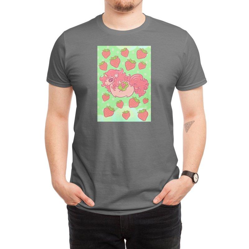 Strawberry unicorn against polka dot BG Men's T-Shirt by Aidadaism