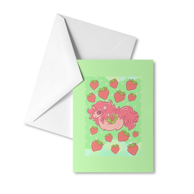Strawberry unicorn against polka dot BG Accessories Greeting Card by Aidadaism