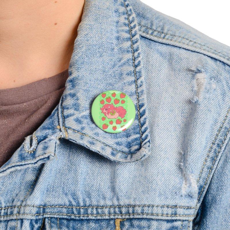 Strawberry unicorn against polka dot BG Accessories Button by Aidadaism