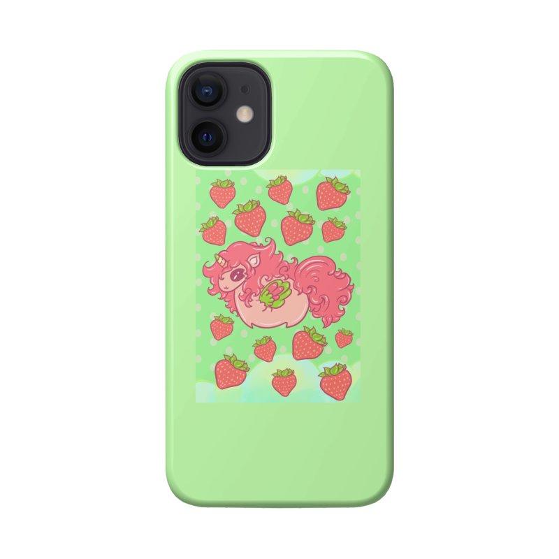 Strawberry unicorn against polka dot BG Accessories Phone Case by Aidadaism