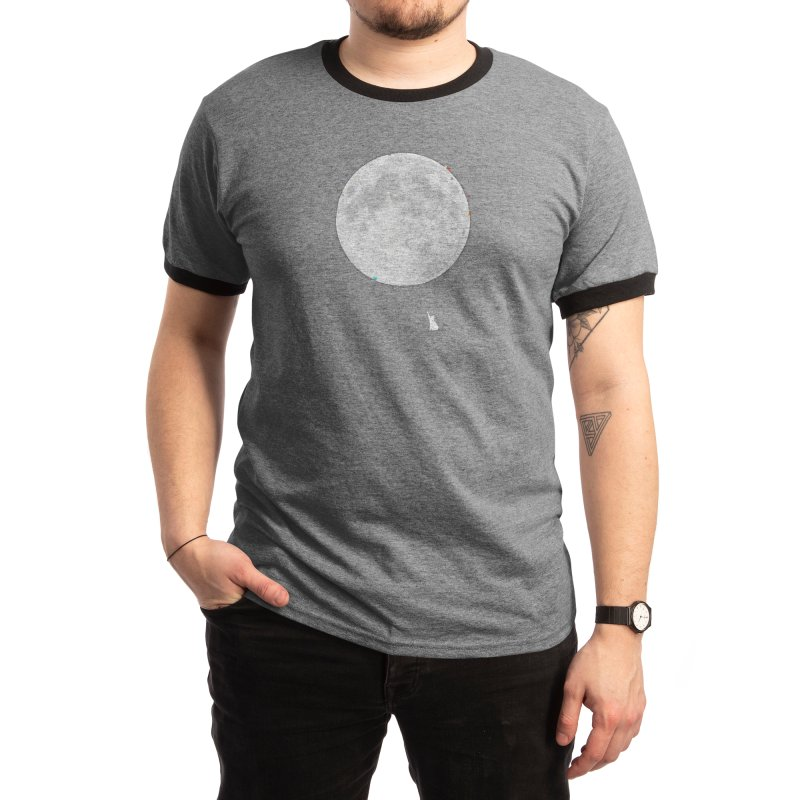 Cat and the Moon Men's T-Shirt by Aidadaism
