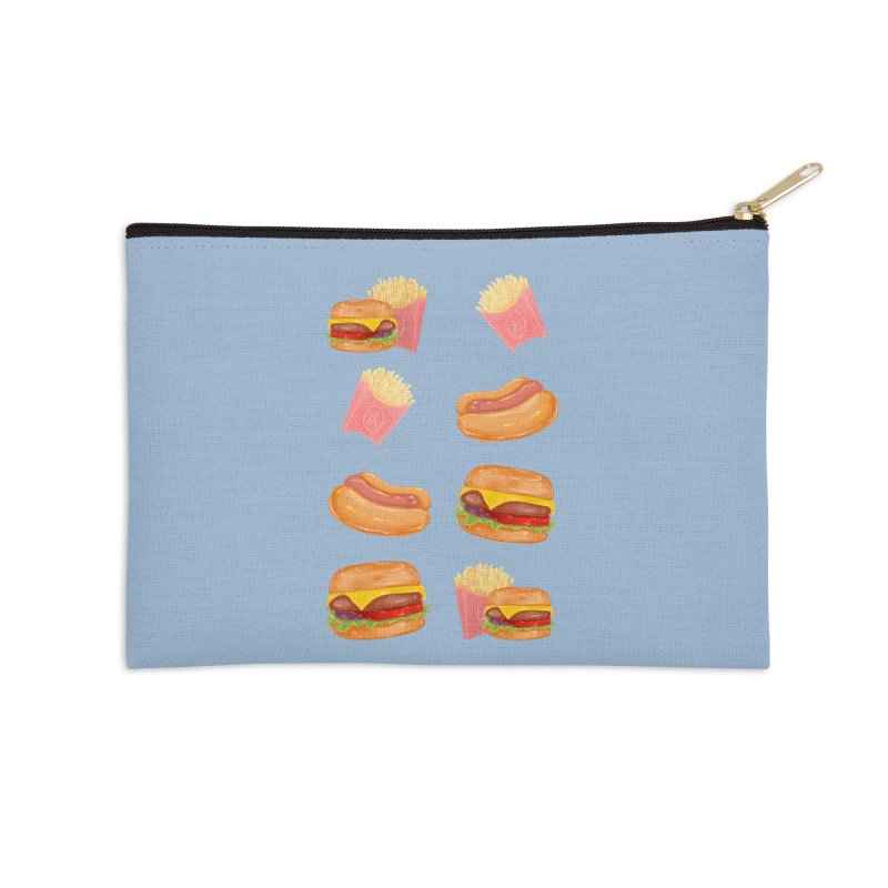 Burgers Fries and Hotdogs Accessories Zip Pouch by Aidadaism