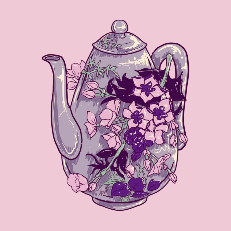 Lavender Tea Pot in Dusty Rose Home Mounted Aluminum Print by Aidadaism