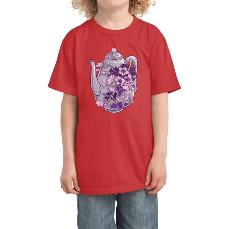 Lavender Tea Pot in Dusty Rose Kids T-Shirt by Aidadaism