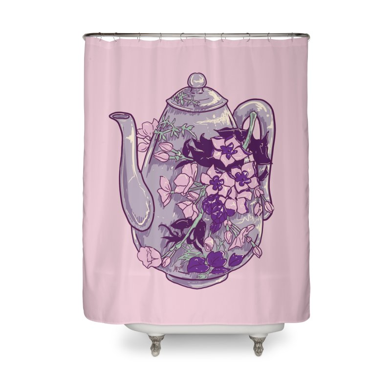 Lavender Tea Pot in Dusty Rose Home Shower Curtain by Aidadaism