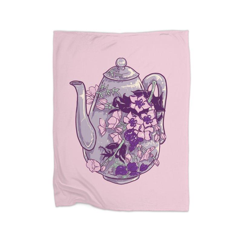 Lavender Tea Pot in Dusty Rose Home Blanket by Aidadaism