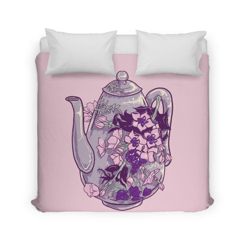 Lavender Tea Pot in Dusty Rose Home Duvet by Aidadaism