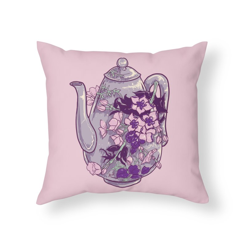 Lavender Tea Pot in Dusty Rose Home Throw Pillow by Aidadaism