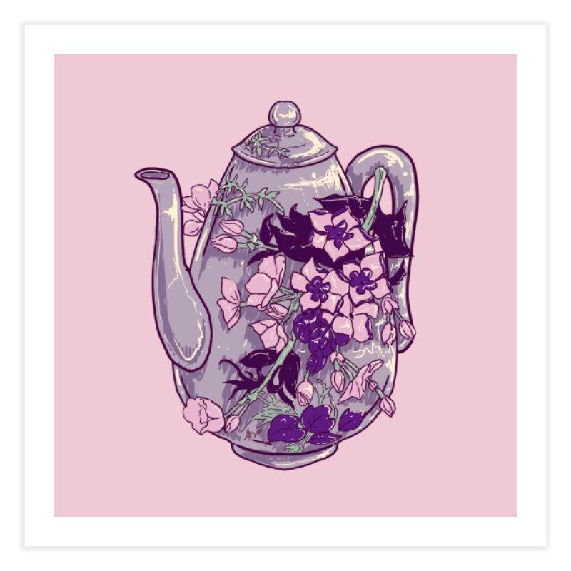 Lavender Tea Pot in Dusty Rose Home Fine Art Print by Aidadaism