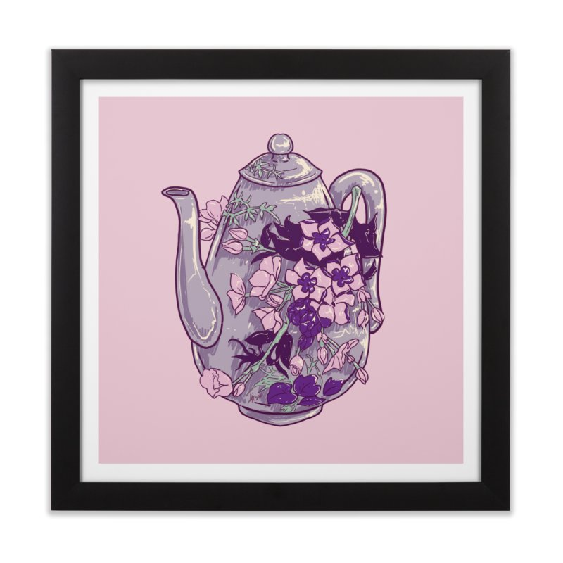 Lavender Tea Pot in Dusty Rose Home Framed Fine Art Print by Aidadaism