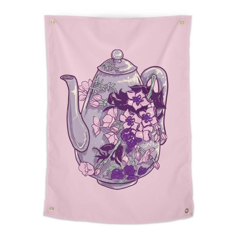 Lavender Tea Pot in Dusty Rose Home Tapestry by Aidadaism