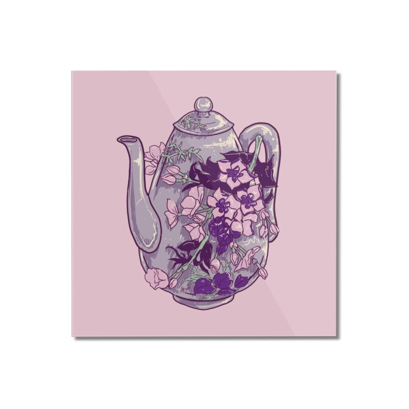 Lavender Tea Pot in Dusty Rose Home Mounted Acrylic Print by Aidadaism