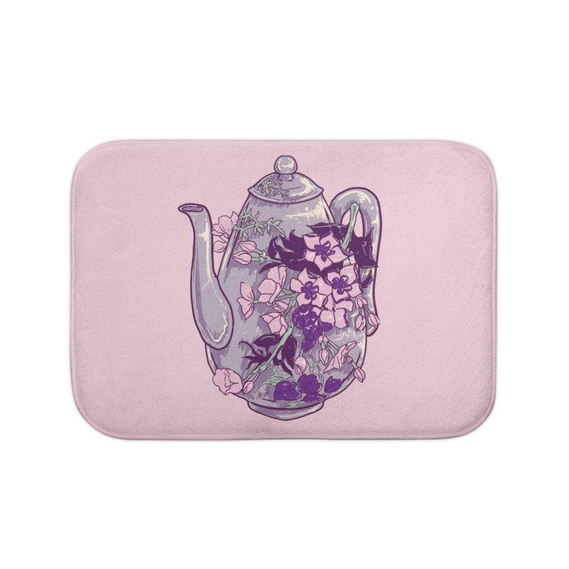 Lavender Tea Pot in Dusty Rose Home Bath Mat by Aidadaism