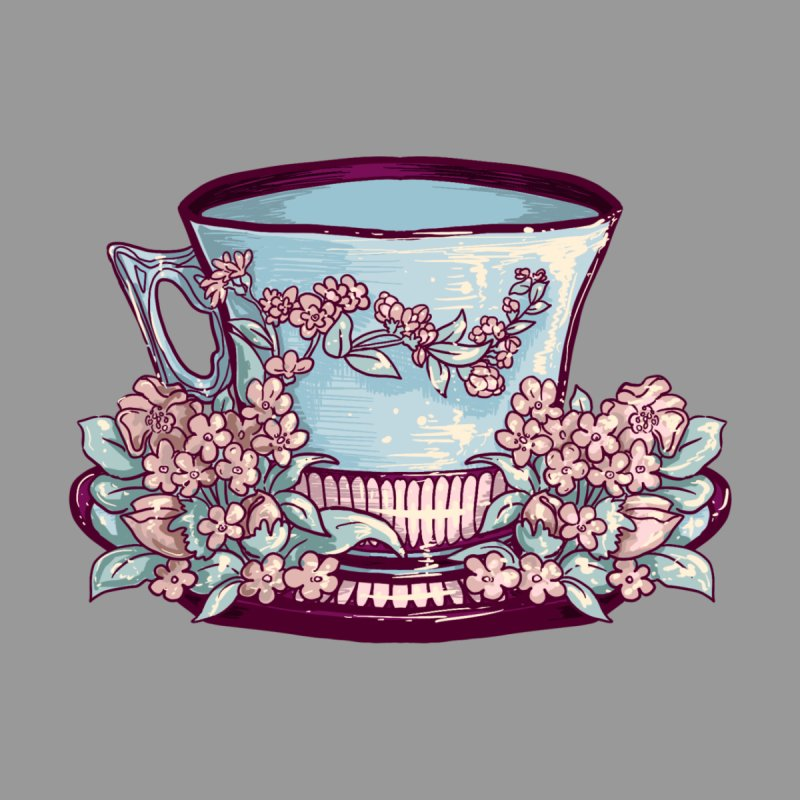 Sky Blue Tea Cup in Heather Grey Home Stretched Canvas by Aidadaism