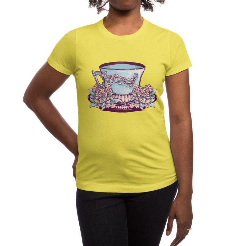 Sky Blue Tea Cup in Pastel Sun Women's T-Shirt by Aidadaism