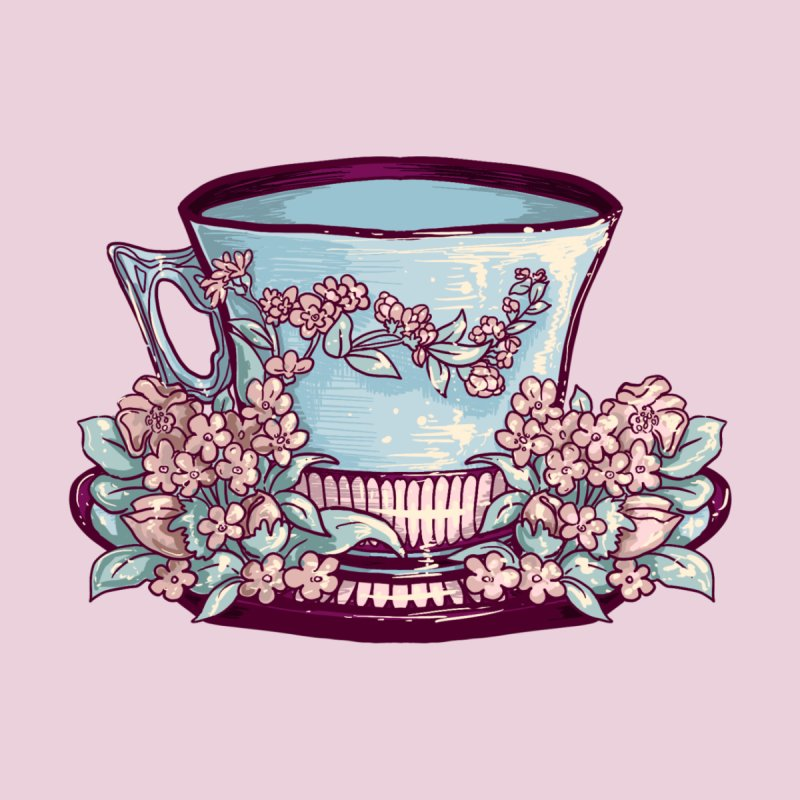 Sky Blue Pastel Tea Cup in Dusty Rose Accessories Button by Aidadaism