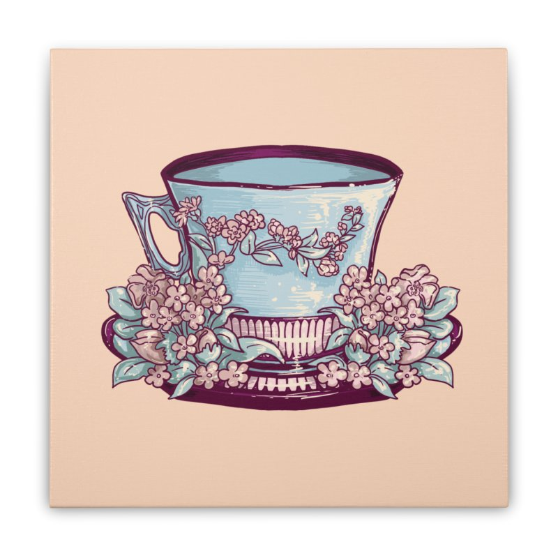 Sky Blue Tea Cup in Pastel Orange Home Stretched Canvas by Aidadaism