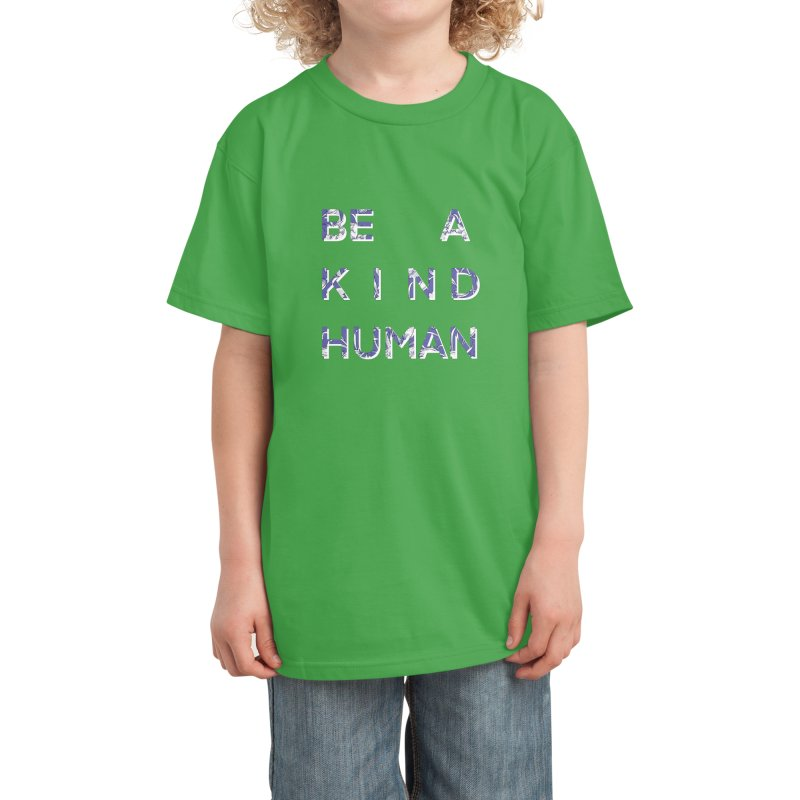 Be A Kind Human - in Floral Blue (GREEN) Kids T-Shirt by Aidadaism