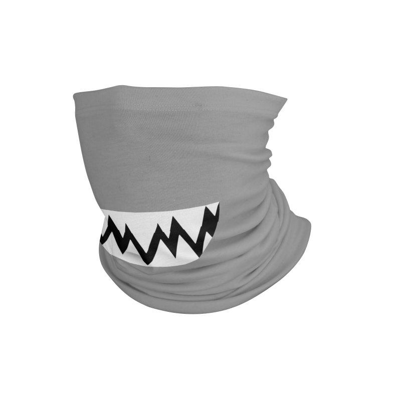 White Teethy in Grey Accessories Neck Gaiter by Aidadaism