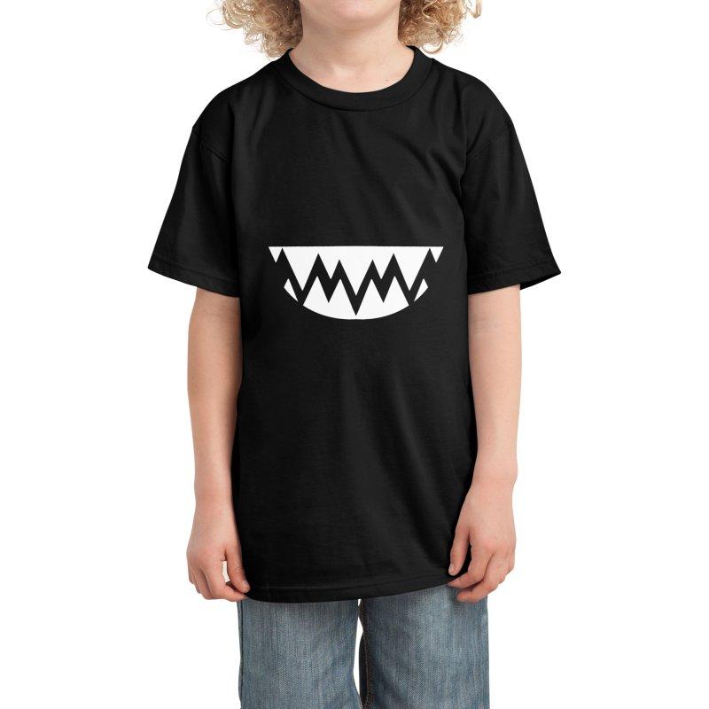 White Teethy in Purple Kids T-Shirt by Aidadaism