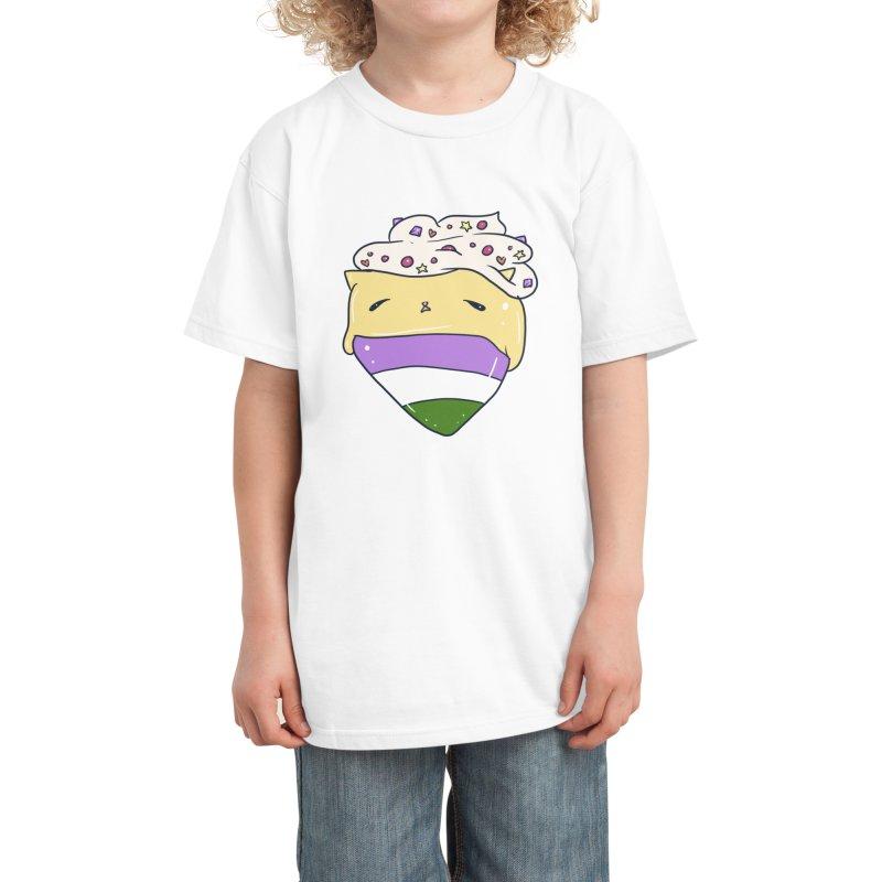 Custard Cat Genderqueer Pride Flag in Black Kids T-Shirt by Aidadaism