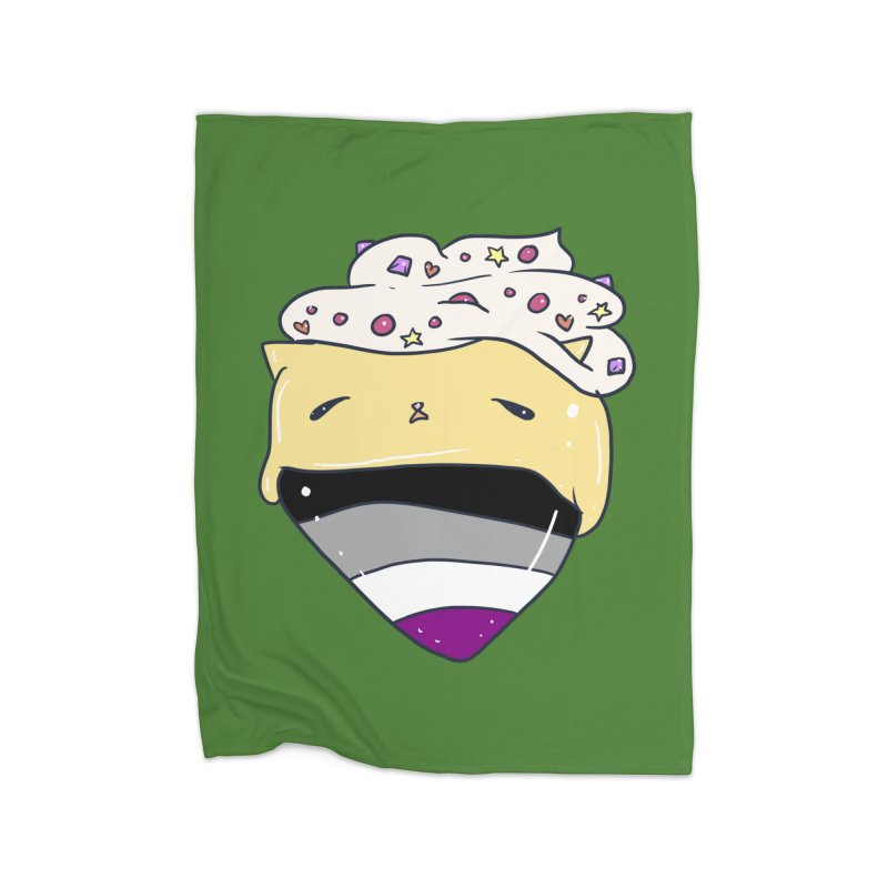 Custard Cat Asexual Pride Flag in Green Home Blanket by Aidadaism