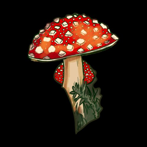 Design for Amanita Muscharia - The Toadstool Mushroom ( Black )